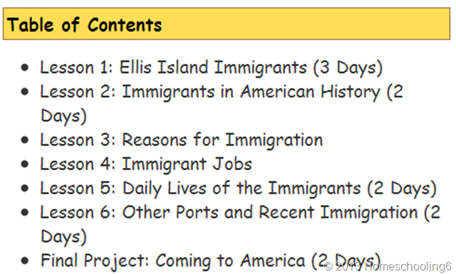 Immigration Table of Contents