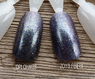 OPI On Her Majesty's Secret Service vs Zoya FeiFei 2