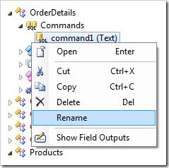 Command context menu option Rename.