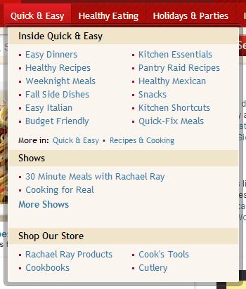 food network menu