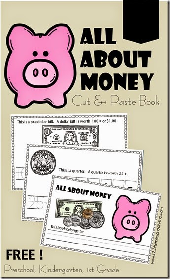 FREE! All About Money Cut and Paste Book for Preschool, Kindergarten, 1st grade. This is such a great math activities to help kids learn the value of each coin in a fun way. GREAT IDEA!