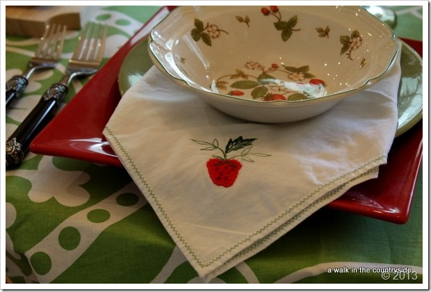 vintage strawberry napkins on table