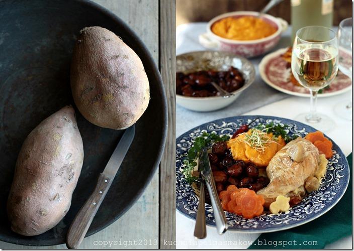 Udka królicze w śmietanie, pieczraki w sosie balsamico i słodkie ziemniaki