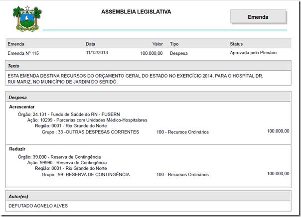 Emenda 115. OGE 2013. Dep. Agnelo Alves