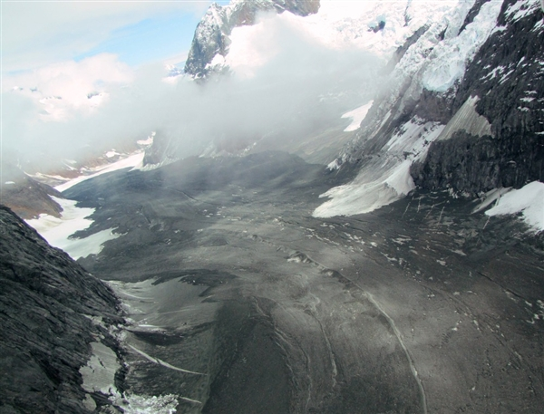 Aerial view of the landslide on the Johns Hopkins Glacier, Alaska. The 11 June 2012 landslide might be the largest ever recorded in North America. Drake Olson / flydrake.com / AP Photo