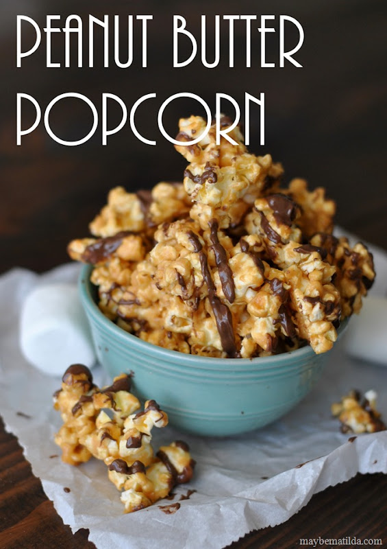 Chocolate Drizzled Peanut Butter Popcorn, perfect for family movie nights!