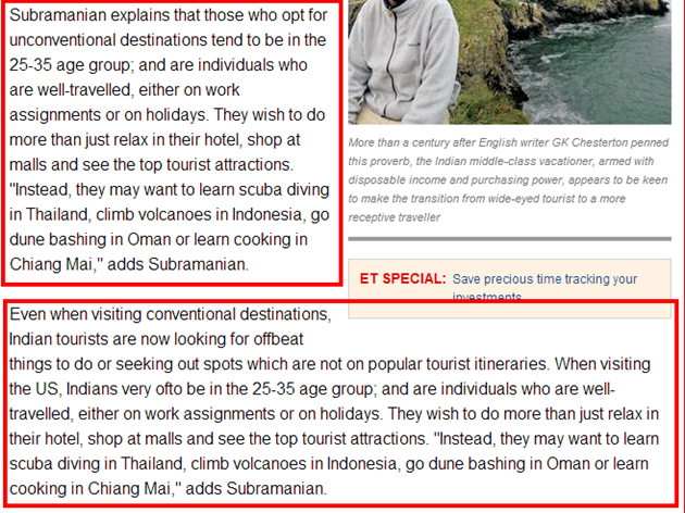 ET mentions my thoughts on the travel industry of India