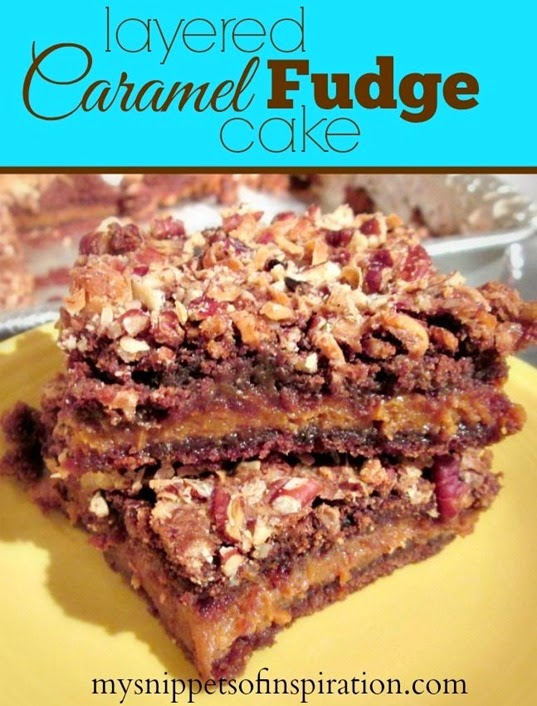 caramel fudge brownie bar