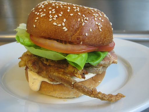 Crunchy softshell sandwich on brioche bun with Old Bay tartar sauce