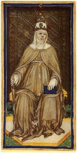 La Papisa, Tarot Visconti-Sforza, atribuido a Bonifacio Bembo.