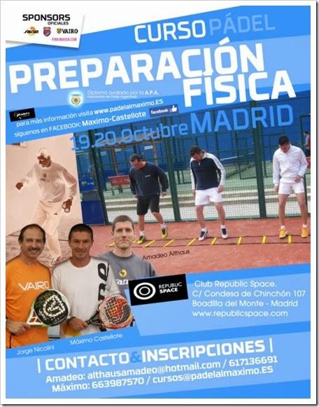 Curso Preparación Física Pádel APA el 19 y 20 de octubre en Club Republic Space (Madrid).