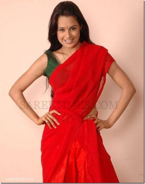 Yuvika_Chaudhary_Red_Saree