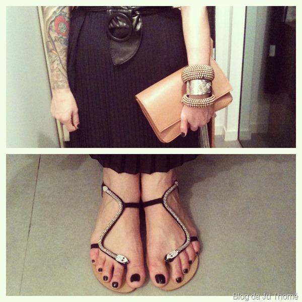 look detalhes rasteira com cobra, maxi carteira e mix de pulseiras