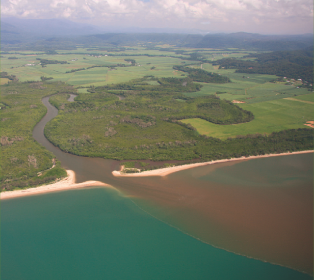 Catchment runoff entering the Great Barrier Reef lagoon, north of Mossman. Photo: Queensland Government Department of Agriculture, Fisheries and Forestry