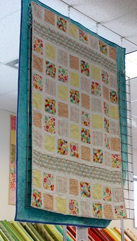 Sew Happy Together raw edge squares quilt from The Fabric Mill