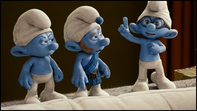 Grouchy, Gutsy and Brainy Smurf in Columbia Pictures' THE SMURFS.