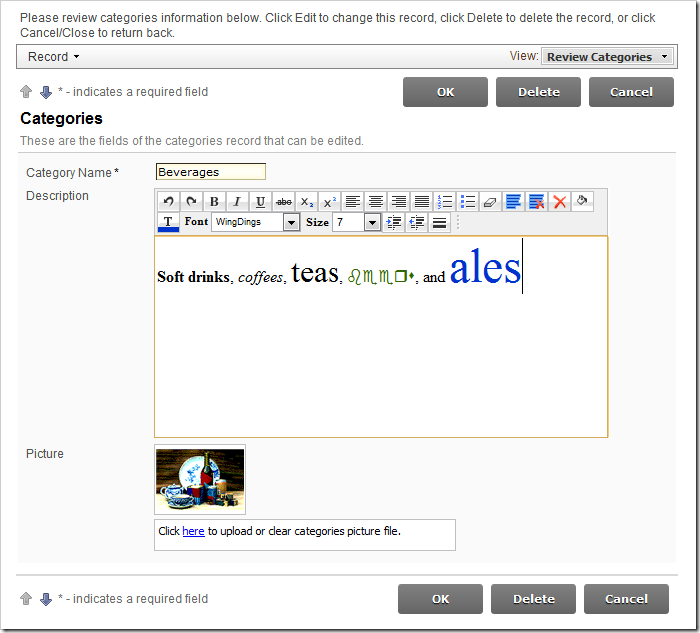 Rich Text editor enabled on Description field of Categories edit form.