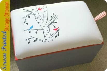 Screen Printed Storage Ottoman