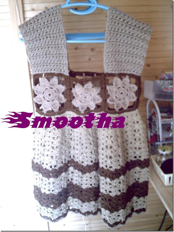 Vestido de crochet castanho e beje (8)
