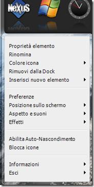 Nexus menu contestuale di gestione