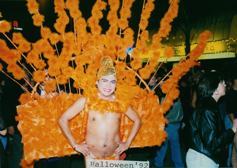 Elaborate costume at the Halloween party iin West Hollywood. October 31, 1992.