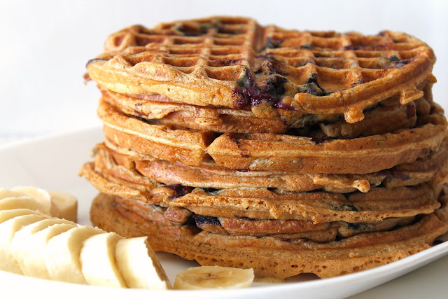 {Whole Wheat} Bacon-Blueberry Waffles