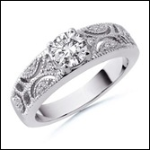 Round Diamond Designer Ring in 14k White Gold
