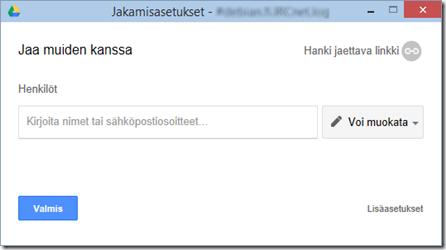 Google Driven työpöytäsovelluksen tiedostonjakoikkuna.