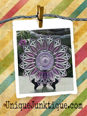 painted vintage glass flower art