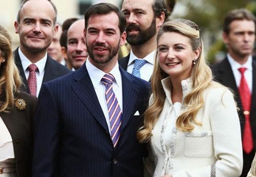 Guillermo de Luxemburgo y Stéphanie de Lannoy tras su boda civil