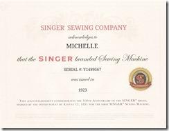 Singer 99 Certificate
