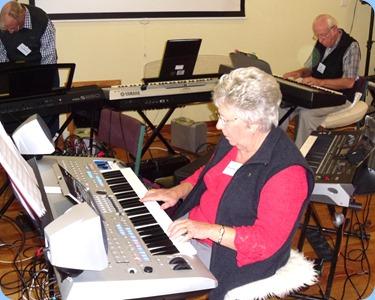 Barbara and Rob Powell dueting. Barbara on the Yamaha Tyros 4 and Rob on the Korg SP-250 piano