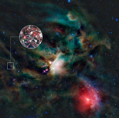 moléculas de açúcar no gás ao redor de estrela