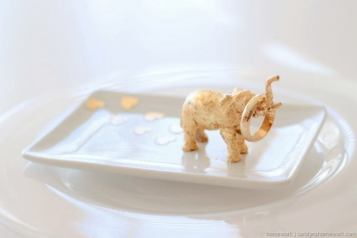 Gold Leaf Elephant Trinket Dish by homework (4)