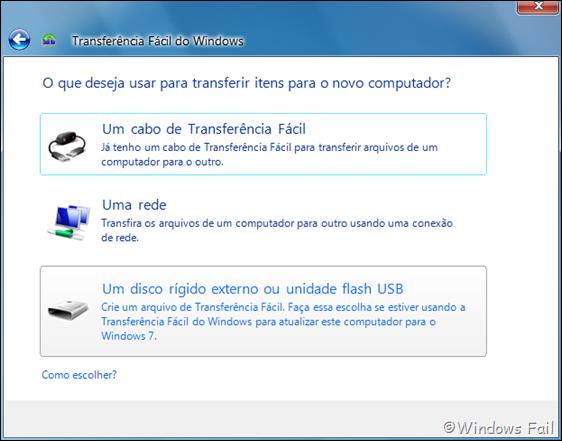 O que deseja usar para transferir itens para o computador?