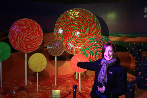 Lynette with the Rhapsody Lollipop - the biggest in China apparently!