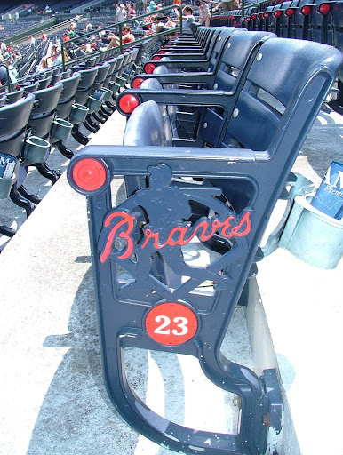 The seats at Atlanta&#39;s Turner Field sport a silhouette of Hank Aaron and the Braves wordmark
