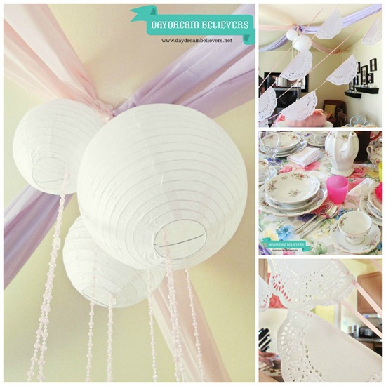 diy tea party birthday party collage