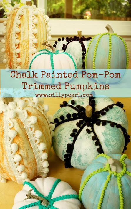 Chalk-Painted Pom-Pom Trimmed Pumpkins - The Silly Pearl