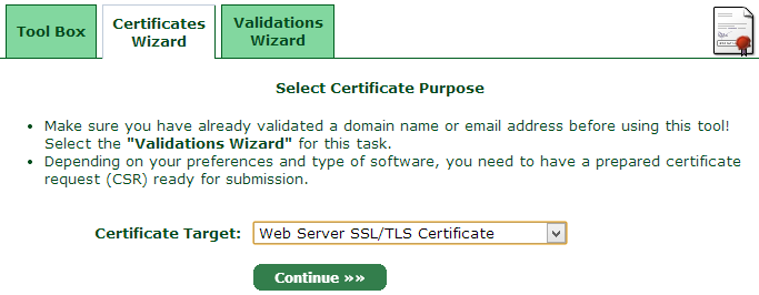 Starting the certificates wizard
