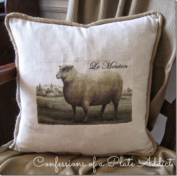 CONFESSIONS OF A PLATE ADDICT Vintage French Sheep Pillow