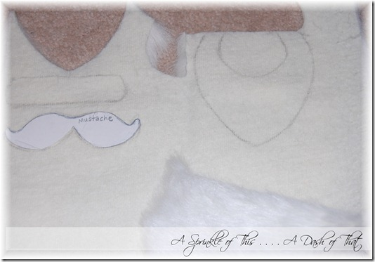 Santa shirt pattern pieces for beard and hat trim {A Sprinkle of This . . . . A Dash of That}