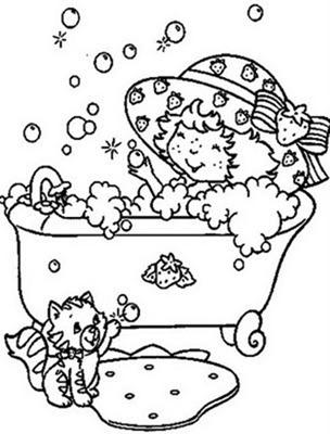 Desenho da Moranguinho na banheira