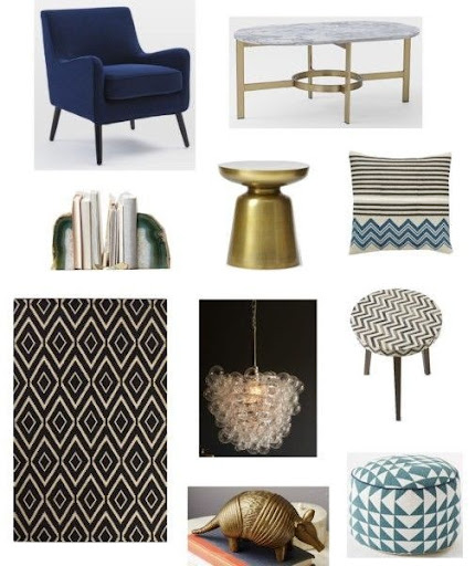 West Elm · Book Nook Armchair, $296* / Marble Oval Coffee Table, $599 /  Agate Bookends, $14 Each* / Martini Side Table, $149 / Hand Blocked Chevron  Pillow ...