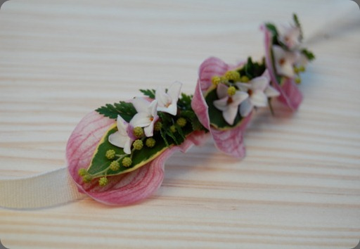 headbands sewn of cymbidium orchid petals, acacia, narcissus, rabbit foot fern, and daphne blossoms the monkey flower group 1