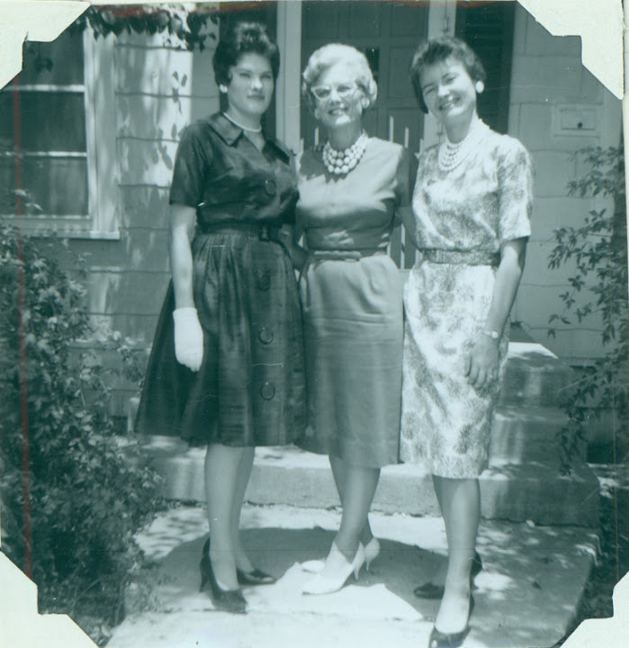 "Carolyn (left) and Brenda Weathers (right) with their mother, Alida Weathers (center). Album caption reads: ""I moved back to my beloved San Antonio. Moved in with Brenda and Anita on Claremont. Mother came to visit us."" From Carolyn Weathers: ""This was the first Easter since Daddy's death in August 1961.  Brenda and I took Mother to a church for Easter Sunday Service. What Mother did't know was that Brenda and I had to find the church in the Yellow Pages."" August 1962."