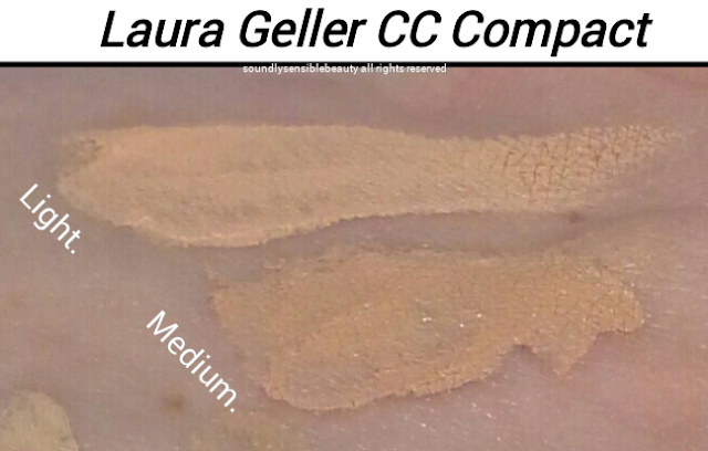 Laura Geller CC Creme Color Correcting Cream Compact Light Medium Swatches of Shades and Review