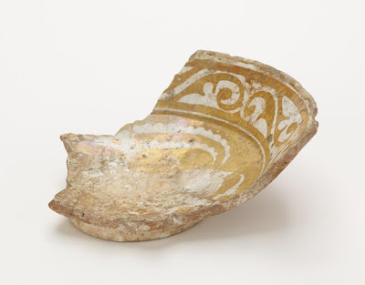 Bowl (fragment) | Origin:  Fustat ?,  Egypt | Period: 11th century  Fatimid period | Details:  Not Available | Type: Earthenware painted in lustre on an opaque white glaze | Size: H: 14.7  W: 13.3  cm | Museum Code: F1908.202 | Photograph and description taken from Freer and the Sackler (Smithsonian) Museums.