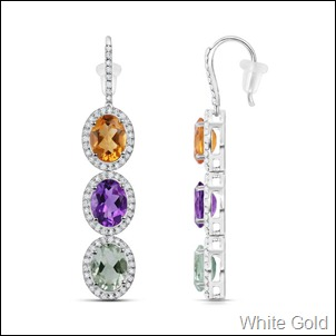 Oval Amethyst and Citrine Three-Stone Halo Earrings