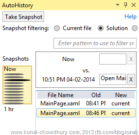 Auto History Pane in Visual Studio 2013